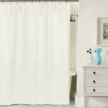 Hotel Quality Waffle Weave Shower curtain with Metal Grommets, 70 inch x 72 inch, White