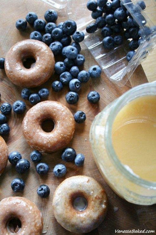 Baked Blueberry Donuts with Honey Glaze - Vanessa Baked