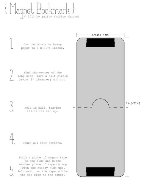 Magnet bookmark directions...would be fun to put a favorite book cover on the front