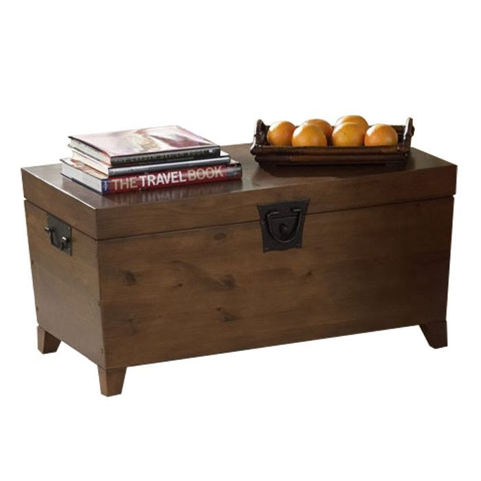 Trunk Style Coffee Table With A Tapered Silhouette And Interior Storage For The House