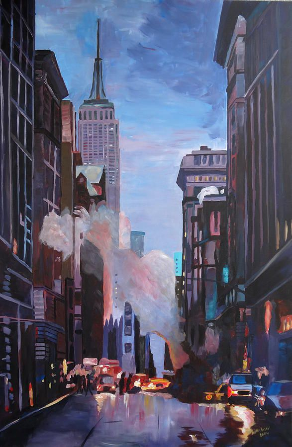New York City Street Scene With Empire State And 5th