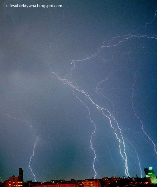 Thunderstorm in Warsaw. Only photos show the enormity of lightning.