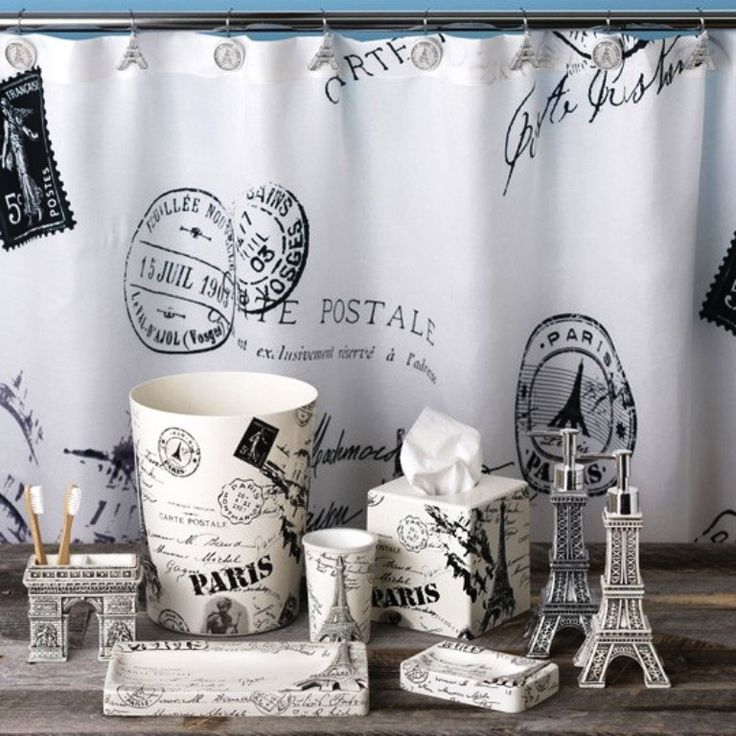 paris shower curtain and accessories - Bathroom Accessories London