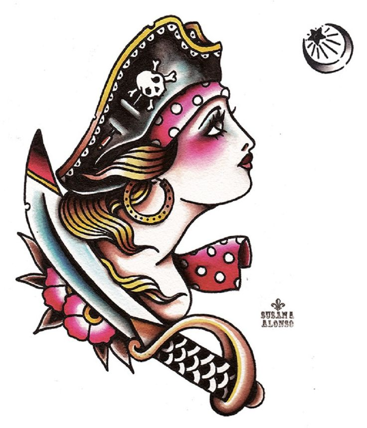 Pirate by Susana Alonso Old School Girl Tattoo Design Canvas Art Print