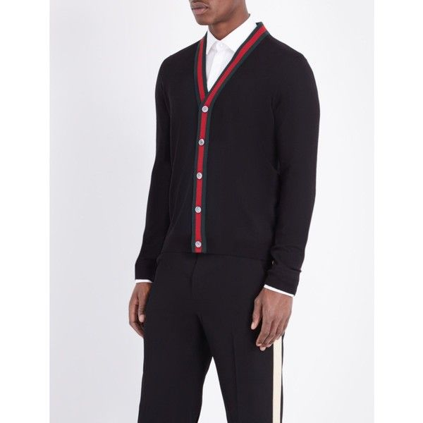 Gucci Striped wool cardigan (2.000 BRL) ❤ liked on Polyvore featuring men's fashion, men's clothing, men's sweaters, mens woolen sweaters, gucci mens sweater, mens cardigan sweater, mens wool cardigan sweater and mens wool sweaters