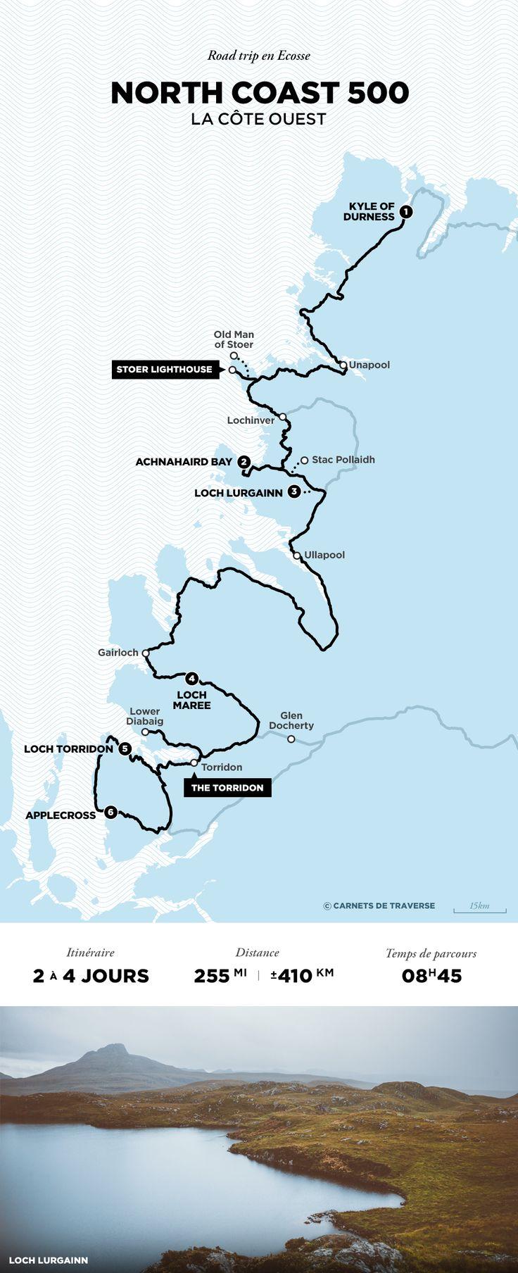 Carte de la North Coast 500 - Road trip Ecosse