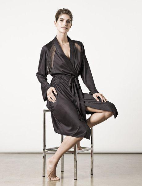 The London Robe in midnight black : Luxury Sleepwear