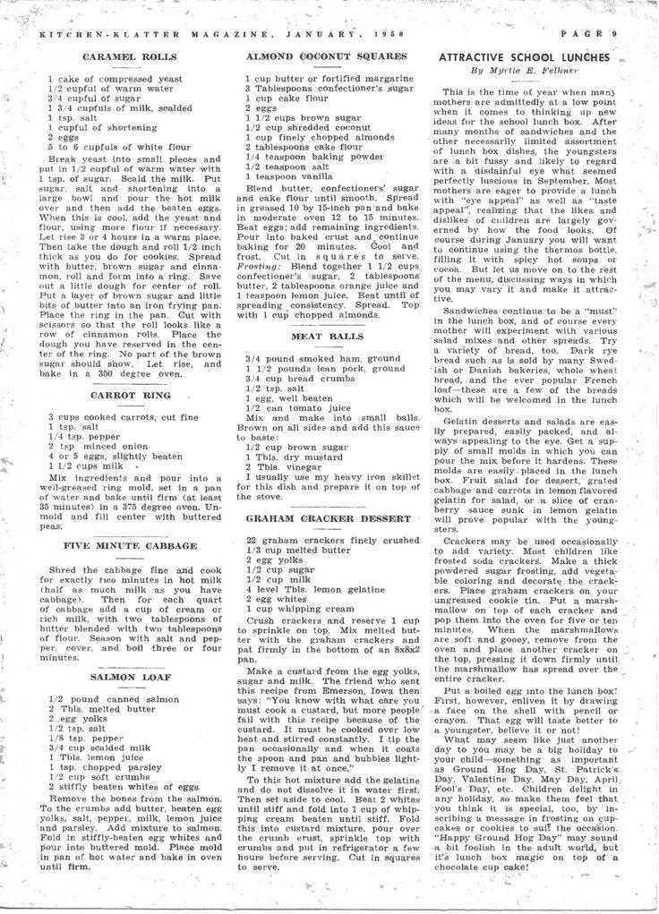 Kitchen Klatter Magazine, January 1950 - Caramel Rolls, Carrot Ring, Five Minute Cabbage, Salmon Loaf, Almond Coconut Squares, Meat Balls, Graham Cracker Dessert, School Lunch Box