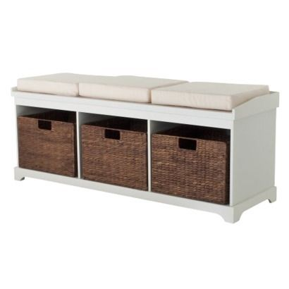 Entryway Bench with 3 Baskets/Cushions - White. 164.99 sale 219 normally. still not bad price with baskets! @Stephanie Ruby Feldman