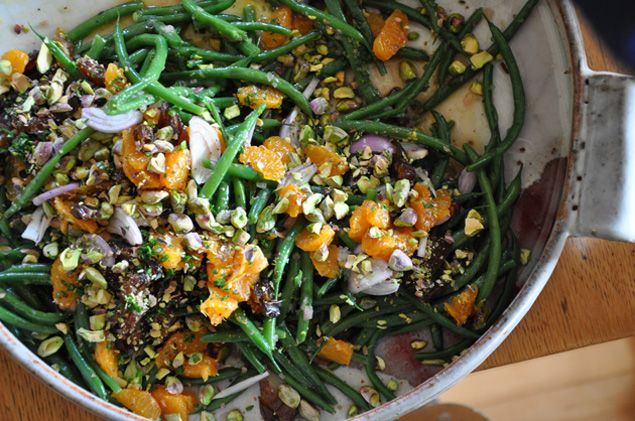 Warm Green Bean Salad with Tangerines, Pistachios and Dates