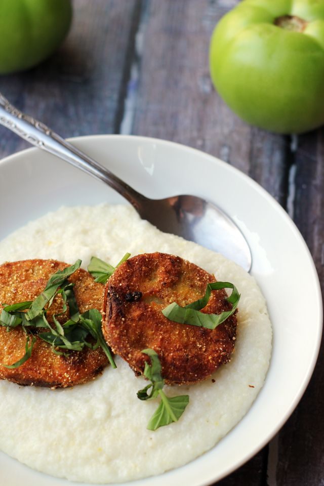 Fried Green Tomatoes Over Basil-Goat Cheese Grits on Eats Well With Others