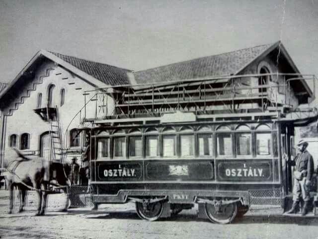 A pesti Közuti Vaspály emeletes kocsija 1866-78,