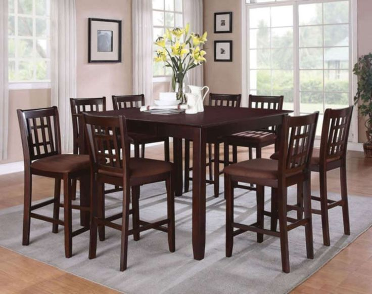 Acme Furniture - Adalia 9 Piece Counter Height Dining Table Set in Walnut - 70680-9SET