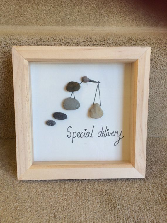 Perfect gift for expectant parents, to give at baby shower or once baby arrives. Please note due to the nature of the craft, pebbles used may vary slightly from ones shown in the picture.