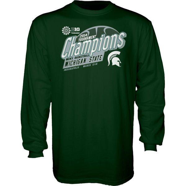Michigan State Spartans 2014 Big Ten Men's Basketball Conference Tournament Champions Locker Room Long Sleeve T-Shirt - Green - $9.99