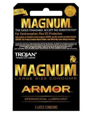 Trojan magnum armor spermicidal condoms - box of 3 by Magnum. Save 68 Off!. $3.50. Large. Condoms. Trojan MAGNUM Armor Spermicidal Lubricant Condoms - The Gold Standard in comfort and protection. Larger than standard latex condoms for extra comfort. Nonoxynol-9 Spermicide is on this condom for extra protection against pregnancy ONLY - NOT for extra protection against AIDS and other STIs. The tapered design at the base makes for a secure fit. It contains silky smooth lubrican...