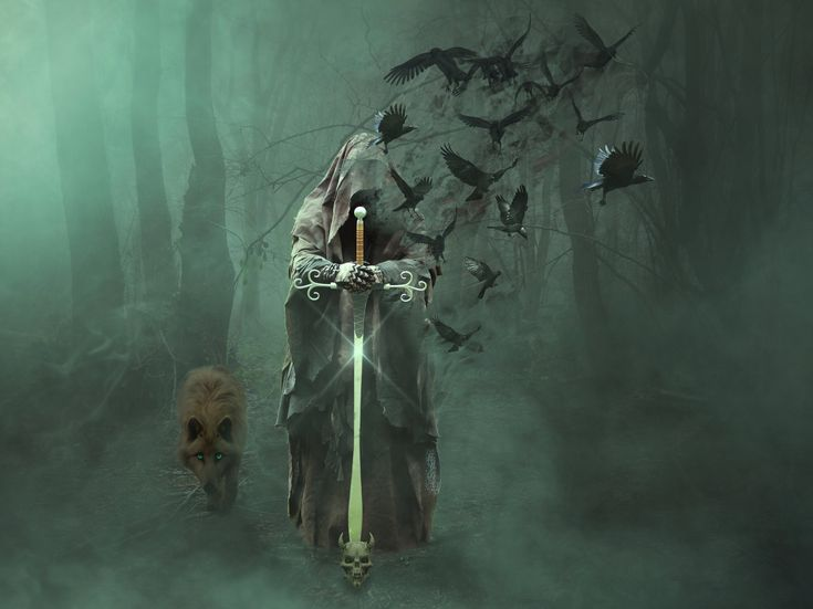 grim reaper holding sword and flock of raves wallpaper