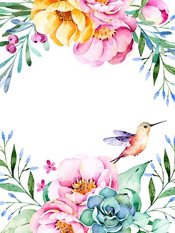 Beautiful watercolor card with roses,flowers,foliage,succulent plant,