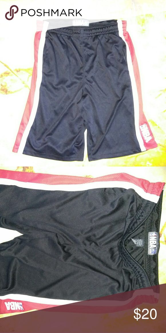 NBA Basketball Shorts Black Red White Like new perfect condition black white and red official NBA basketball athletic shorts. Not sure how to price these so accepting offers! Brand is NBA official #poshlife Nike Shorts Athletic
