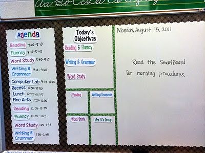Using your whiteboard to create an agenda & objective board. Colorful, creative & effective for your students to keep up to-date!