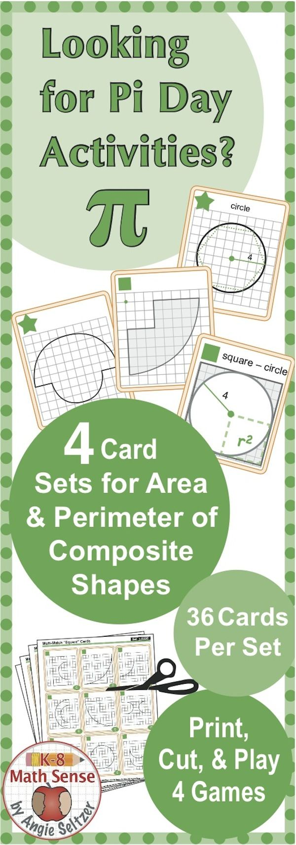 This bundle includes four printable 36-card sets involving area and circumference (or perimeter) of circles and composite shapes with circular parts (CCSS 7.G.4). These cards are versatile to use with different ability levels. Once students have matched the cards and filled out a recording sheet, they can use their answers as reference (if necessary) as they play fun card games. ~by Angie Seltzer