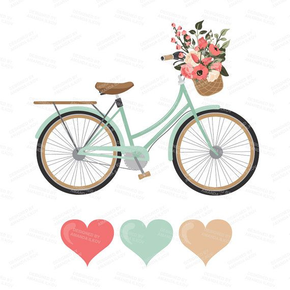 Premium Wedding Clipart Amp Vectors Mint And Coral Bicycle