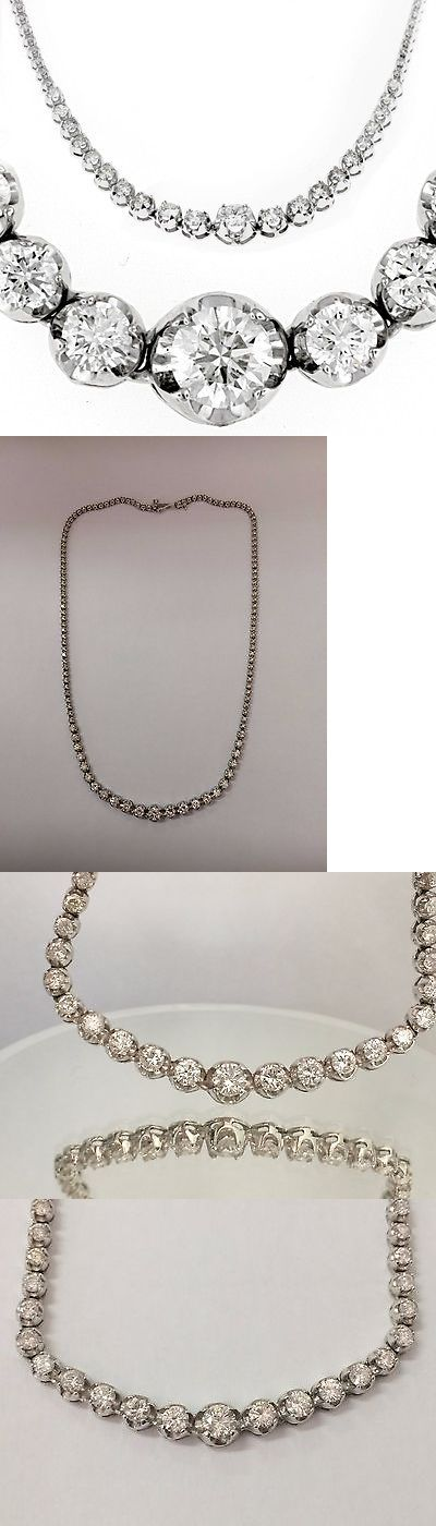 Other Fine Necklaces Pendants 164334: 10.50Ct Real Diamond Graduated Tennis Necklace 14K White Gold Certified D Vs2 -> BUY IT NOW ONLY: $5499 on eBay!
