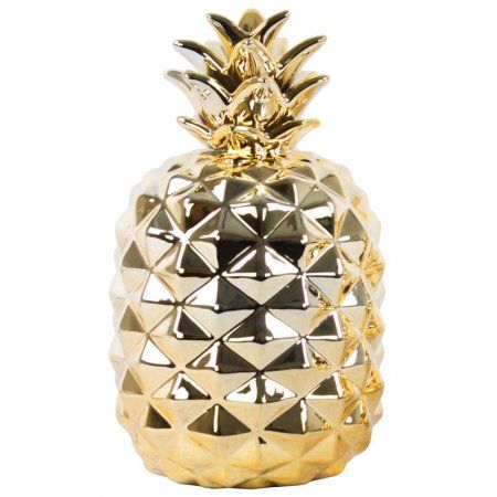 Urban Trends Collection: Ceramic Pineapple Figurine, Polished Chrome Finish, Gold