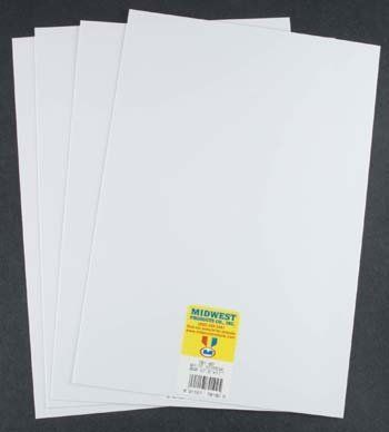 """Styrene Sheets, White, .020 x 7.6"""" x 11"""" (4) by Midwest Products Co.. $5.11. White Sheet Styrene .020 (4)MidwestPart MID701-02. Save 29% Off!"""