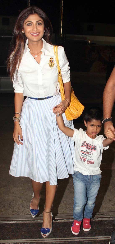 Shilpa Shetty with her son Viaan Raj Kundra in Mumbai. #Bollywood #Fashion #Style #Beauty #Hot #Sexy