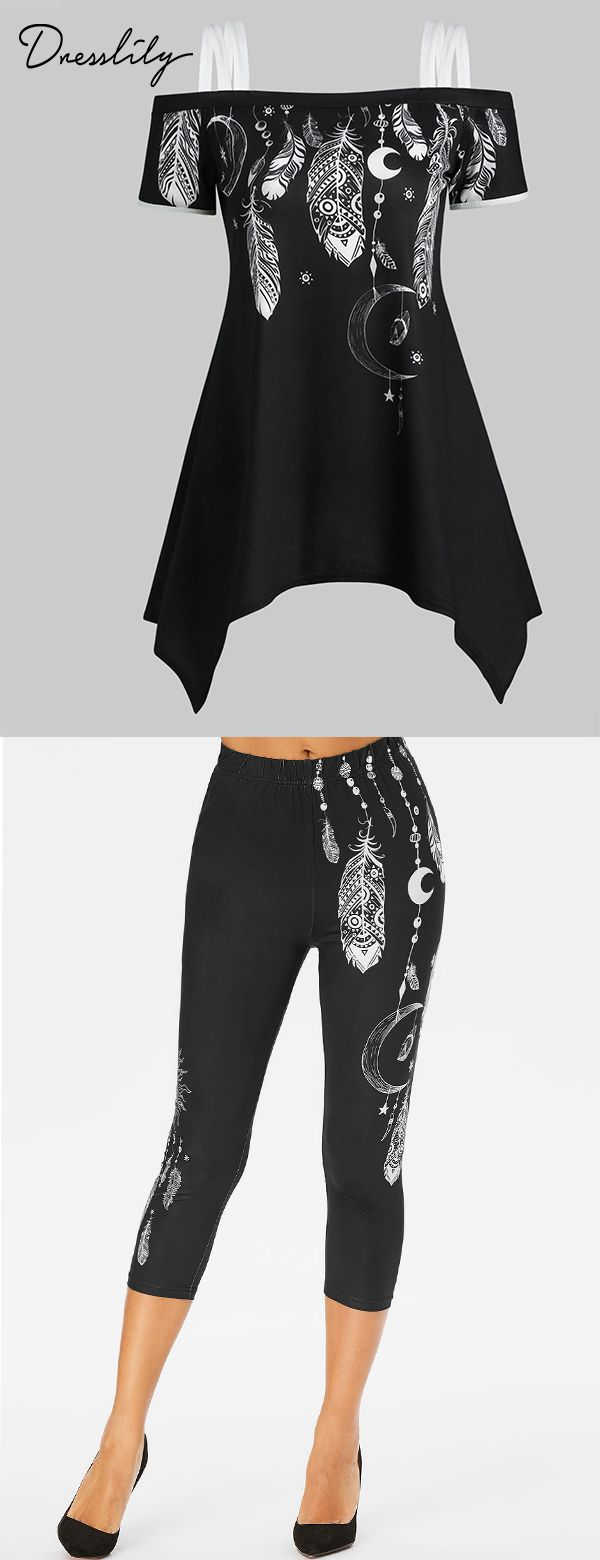 Best Casual Outfits for Women 2019! Feather T-shirt & High Waist Feather Pants.