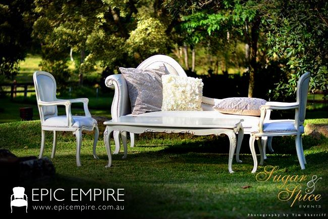 Featuring Baroque Chaise and Baroque Chairs of Epic Empire elegantly contrast the greenery. http://www.epicempire.com.au/baroque-chaise/ http://www.epicempire.com.au/baroque-dining-chair/ # #events #weddings #byronbay #furniturehire #furniture #baroque #australia #brisbane #queensland