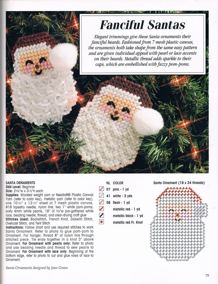 FANCIFUL SANTAS * ORNAMENTS by JOAN GREEN 1/1 - FROM MAKE IT MERRY IN PLASTIC CANVAS BOOK 5