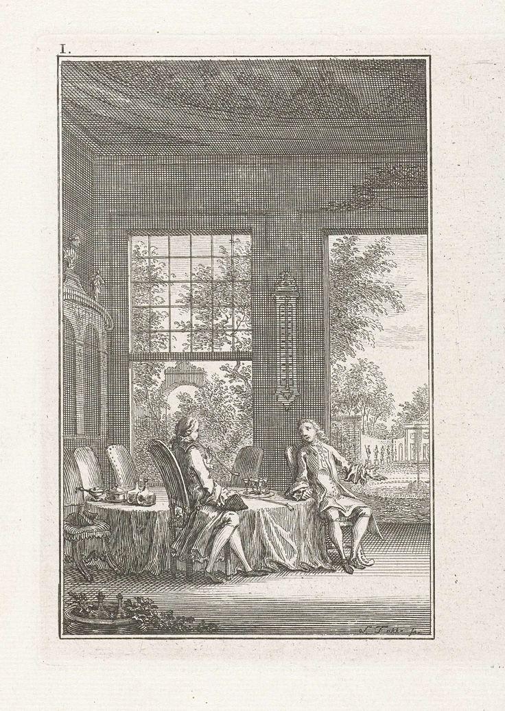 Simon Fokke | Twee heren in een vertrek, Simon Fokke, 1722 - 1784 | Twee heren zitten aan tafel in een vertrek waar door de open ramen en deuren zicht is op een tuin. Eén van de heren rookt een pijp, een tweede pijp ligt top tafel. Prent linksboven gemerkt: I.