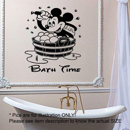 Disney Mickey Mouse CHILDREN BATH TIME Vinyl Sticker Wall Decals Mural Wall Art Kids Decor JRD12 JR Decal