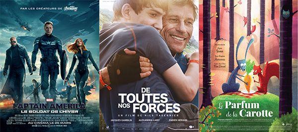 Mercredi 26 mars 2014, sorties cinéma sur Enfant.net - Nouveaux films sortis cette semaine:Captain America 2, le Soldat de l'Hiver ; De toutes nos forces ; Le Parfum de la carotte...