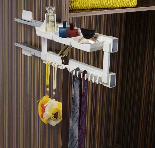 Klasse Silent Tie Utility Rack   Pull out tie rack with utility rack soft closing mechanism 35 kgs loading capacity