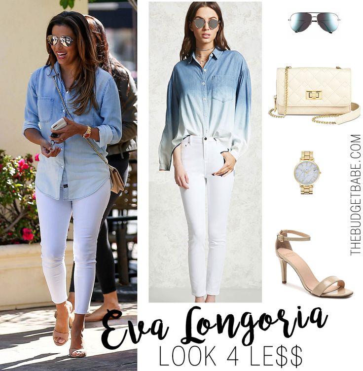Eva Longoria's ombre denim shirt outfit for less