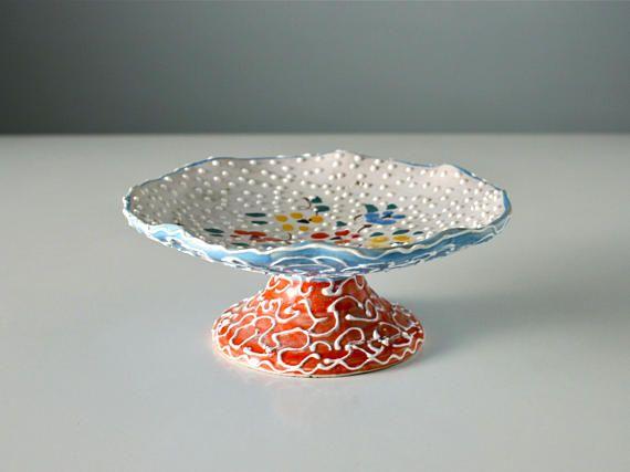Ornate Italian pedestal dish. Vintage tube lined display plate