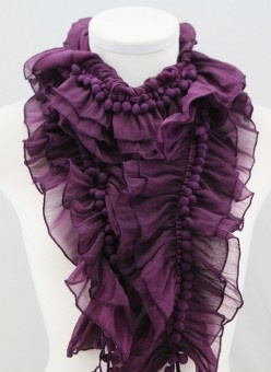 Dark purple pompom ruffle infinity scarf: Colors Purple, Ruffles Scarfs, Purple Scarves, Infinity Scarfs, Pompom Ruffles, Cute Scarfs, Fall Fashion Trends, Purple Ruffles, Colormepurrrpl Perfect