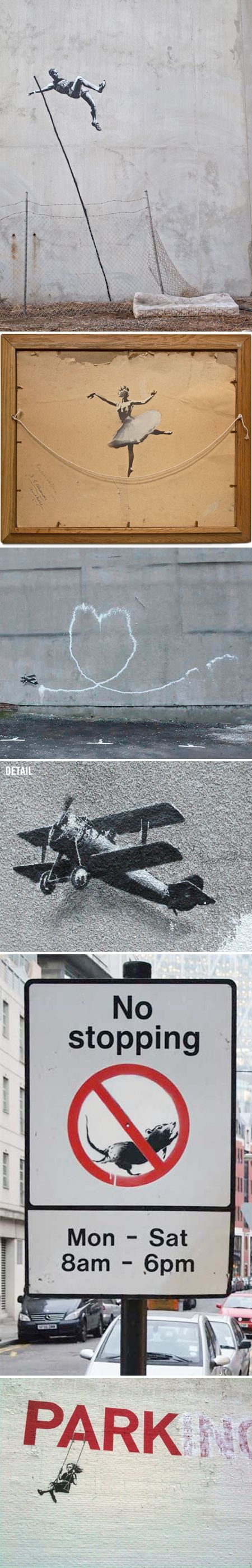 Banksy, I'm assuming from repinning. I love Banksy's work. It's awesome when you are in New York City and spot his work. I have a photograph from work I've seen there. I love taking photographs of all the awesome artwork on the city buildings. Incredible.