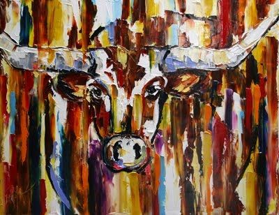 'Longhorn' Texas Bevo Longhorn Oil Painting by Texas Artist Laurie Pace -- Laurie Justus Pace