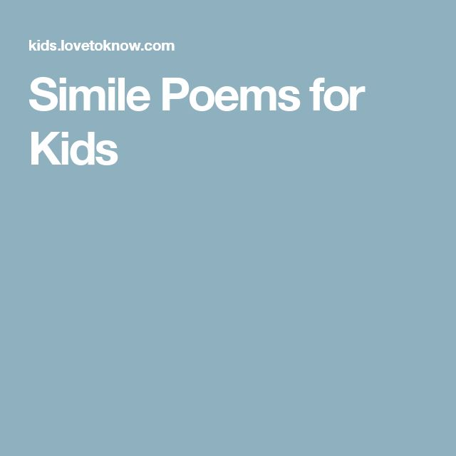 Simile Poems for Kids