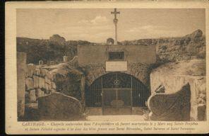 Postcard, Carthage, Chapelle souterraine dans l'Amphiteatre