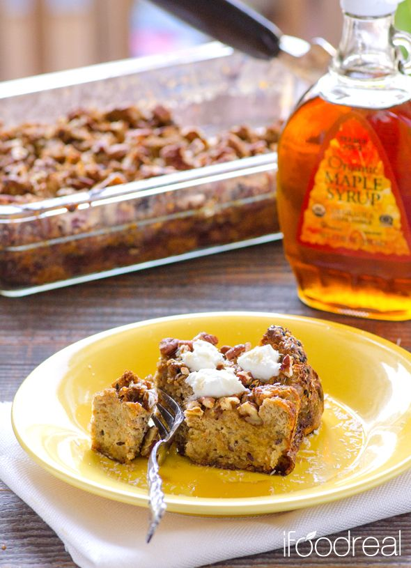 Traditional french toast casserole made healthy with extra egg whites, almond milk and sprouted organic bread. Prep the night before and just pop in the oven next morning.