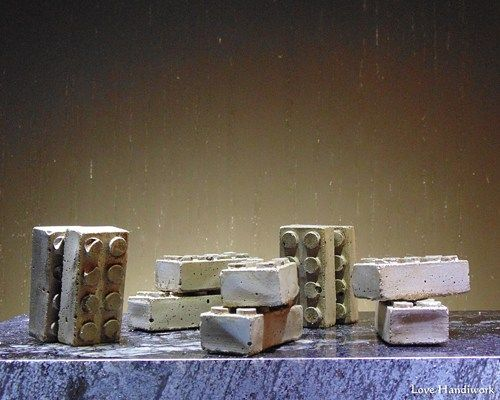 These are rustic Lego style cement magnetic paperweights. I have rubbed them with a dark wax to give them a more earthy look. There are 10 pictured. This listing is for a pair of TWO paperweights. So