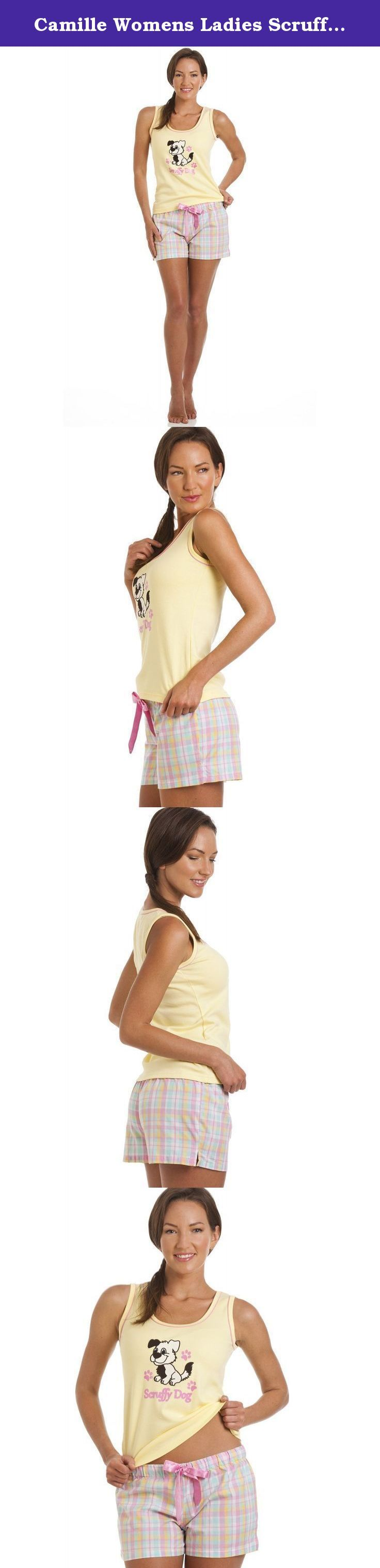 Camille Womens Ladies Scruffy Dog Print Short Pyjama Set 12/14 YELLOW. Scruffy Dog Slogan On A Yellow Short Sleeve Top. Short Multi Colour Check Bottoms With Ribbon Tie. Machine Washable. If you need any help with sizing please contact us through Amazon we will respond within 24 hours. All our orders are sent by Priority Air Mail. Usual delivery within 7-10 days.