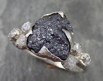 Bruto bruto diamante negro Multi piedra anillo 14k oro blanco compromiso anillo byAngeline 0521