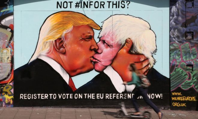 Boris Johnson: How Britain's new foreign secretary has insulted the world,   A mural showing US Republican presidential nominee Donald Trump (L) kissing the former Mayor of London and Conservative MP, Boris Johnson, on the side of a building in Stokes Croft area of Bristol, south west England on May 24, 2016