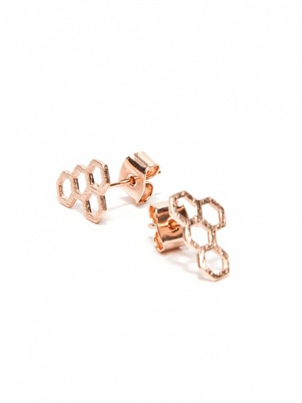 Need Supply Co. Honeycomb Earrings in Rose Gold